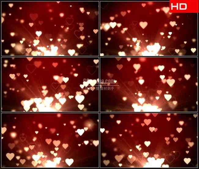 BG0234-浪漫粉红色桃心爱心飞出动态背景高清LED视频背景素材