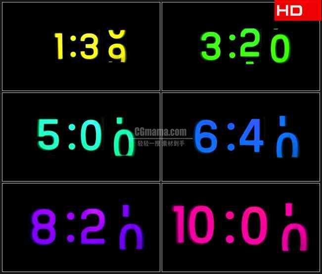 BG0243-电子表计时运行时钟高清LED视频背景素材