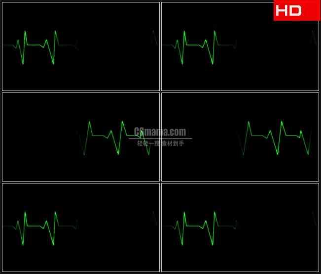 BG0260-心电图绿色生命线波动高清LED视频背景素材