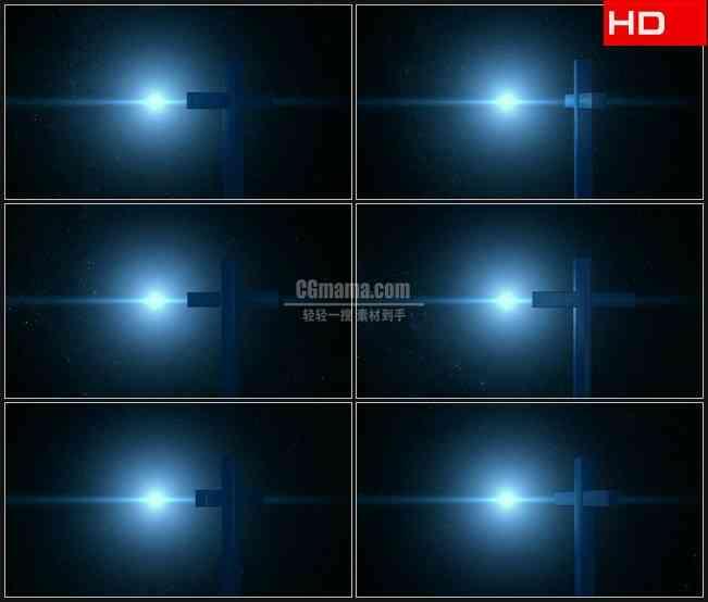 BG0264-三维蓝色立体十字架光芒星空高清LED视频背景素材