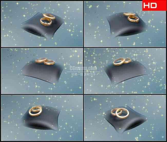 BG0274-结婚对戒旋转展示金色花瓣飘落浪漫婚礼高清LED视频背景素材