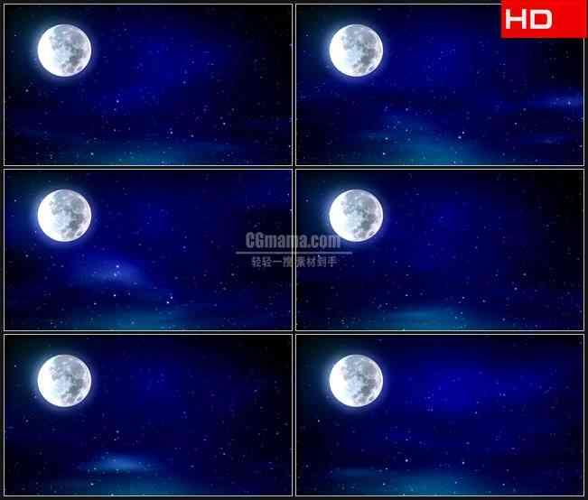 BG0276-中秋节蓝色星空明月圆月亮高清LED视频背景素材