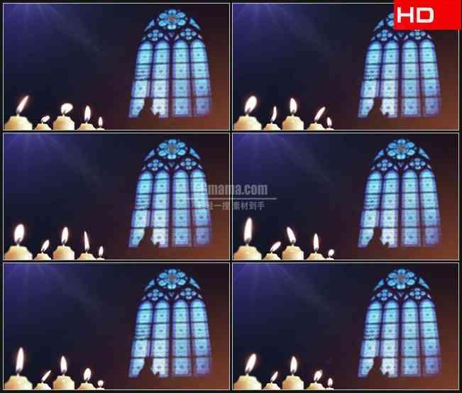 BG0280-蜡烛和彩色玻璃窗祈祷教堂高清LED视频背景素材