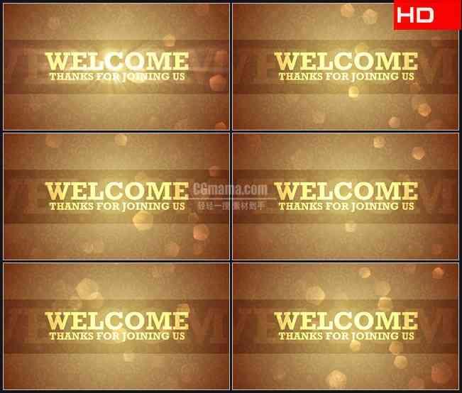 BG0282-欢迎文本金色字体模式高清LED视频背景素材