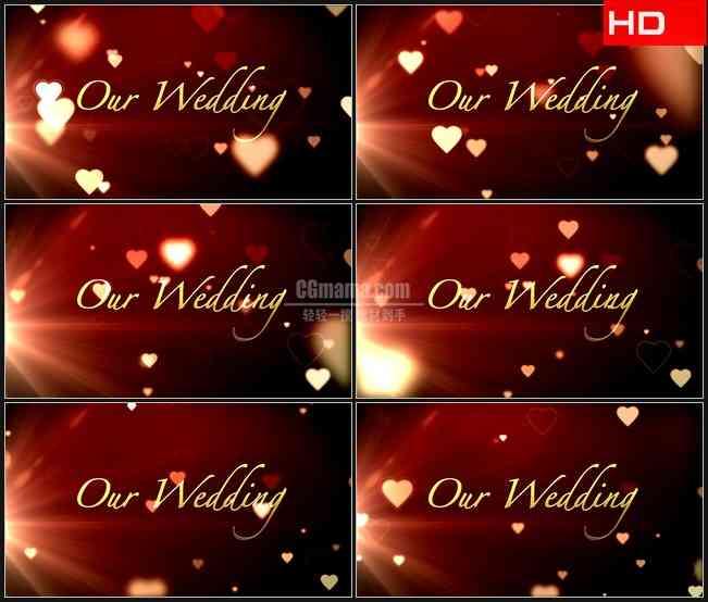 BG0287-婚礼红色背景爱心 我们结婚了高清LED视频背景素材