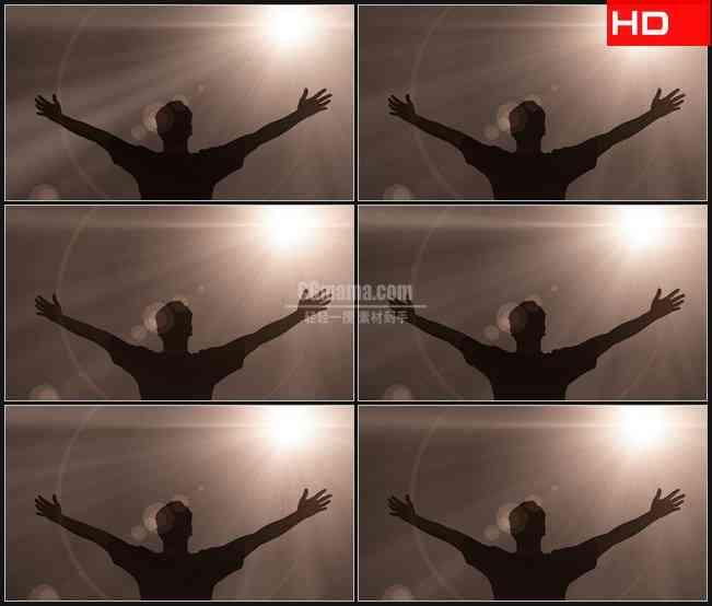 BG0291-张开双臂欢呼人物剪影光照高清LED视频背景素材