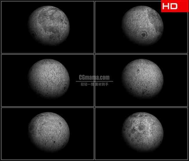 BG0301-透明通道月球转动月球表面高清LED视频背景素材