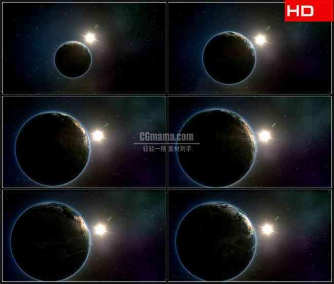 BG0302-地球绕太阳太空星空天文现象动画演示高清LED视频背景素材