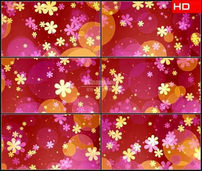 BG0308-红色紫色背景黄色小花旋转光晕动态背景高清LED视频背景素材