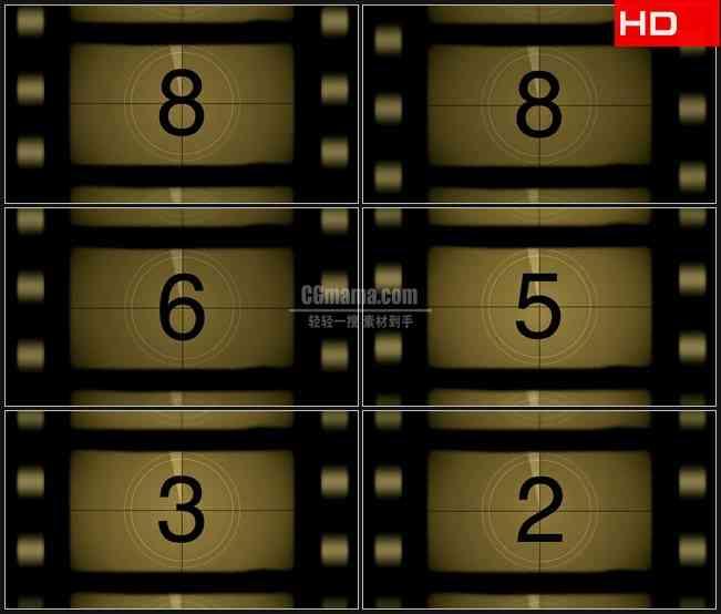 BG0315-复古老电影胶片数字倒计时高清LED视频背景素材