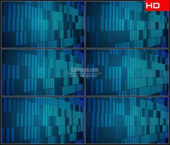 BG0316-蓝色垂直矩形排列成行的振荡动态背景高清LED视频背景素材