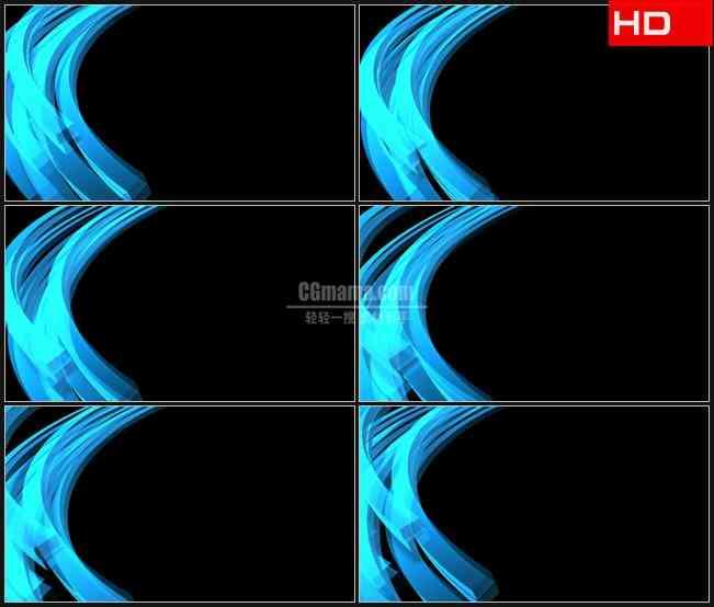 BG0323-蓝色左边蓝色半透明水晶弧形蓝条透明通道动态背景高清LED视频背景素材