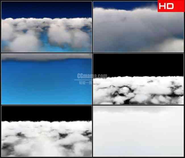 BG0334-云层云雾蓝色天空自带黑白透明通道高清LED视频背景素材