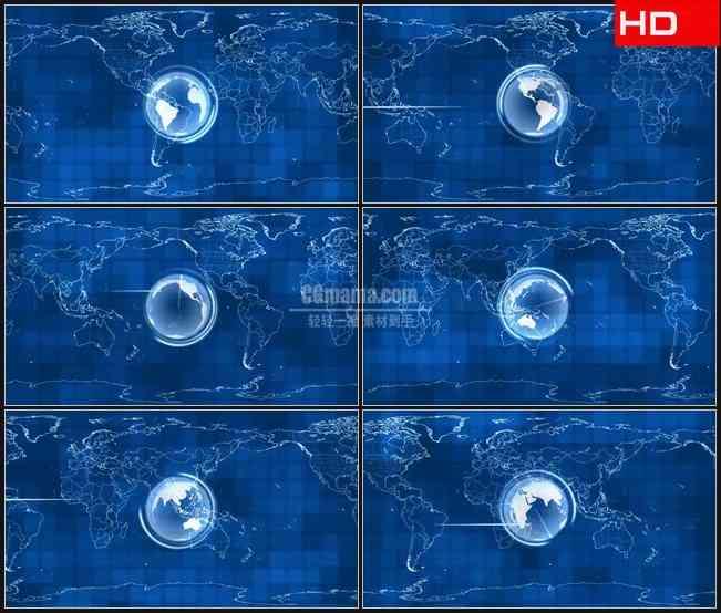 BG0341-世界版图球体旋转蓝色背景新闻信息摘要高清LED视频背景素材