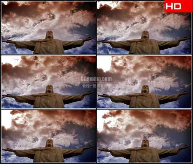 BG0344-耶稣雕塑雕像蓝色天空白云流动高清LED视频背景素材