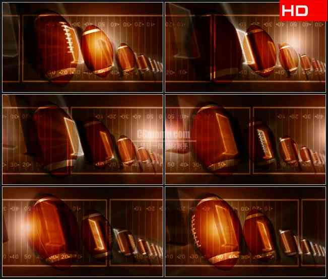 BG0346-金色滚动美式橄榄球动态背景高清LED视频背景素材