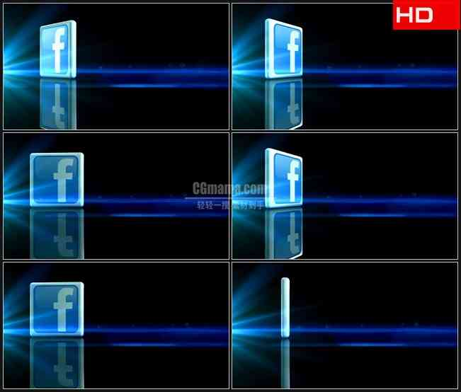 BG0352-三维立体facebook图标转动高清LED视频背景素材