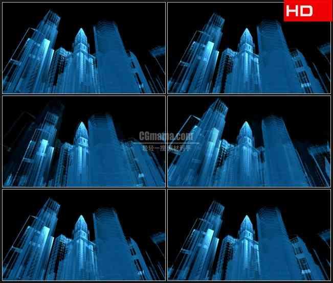 BG0353-城市建筑蓝色半透明模型透明通道高清LED视频背景素材
