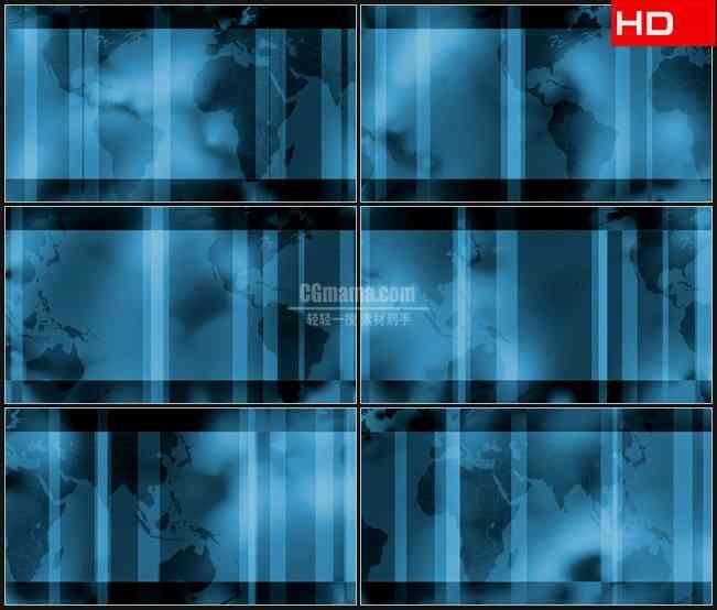 BG0357-世界地图版图滚动蓝色半透明条变换动态背景高清LED视频背景素材