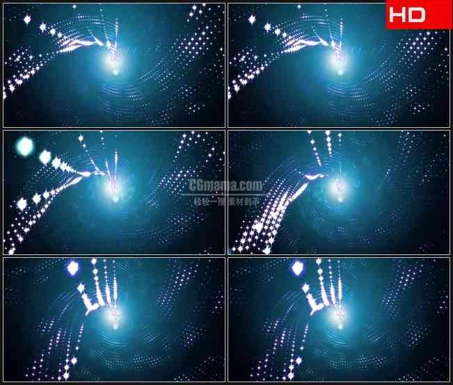 BG0358-闪闪发光灯线粒子链漩涡旋转动态背景高清LED视频背景素材