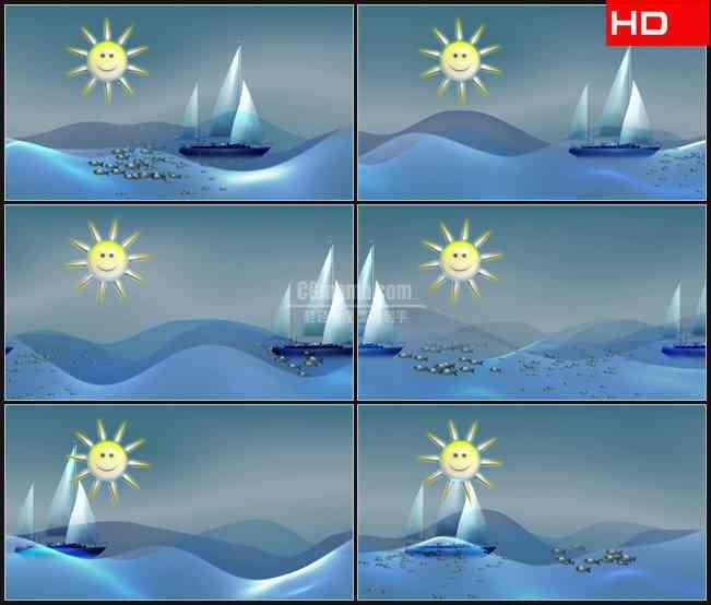 BG0359-卡通儿童帆船大海动态背景高清LED视频背景素材