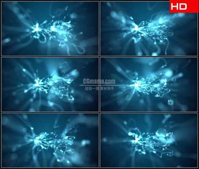 BG0362-荧光蓝色软波光扭曲运动高清LED视频背景素材