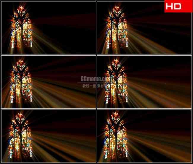 BG0365-巴洛克式彩绘玻璃窗光芒教堂高清LED视频背景素材