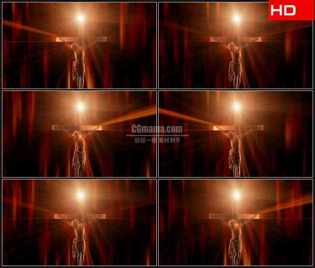 BG0377-水晶透明三维立体十字架耶稣神像金黄色光芒旋转高清LED视频背景素材
