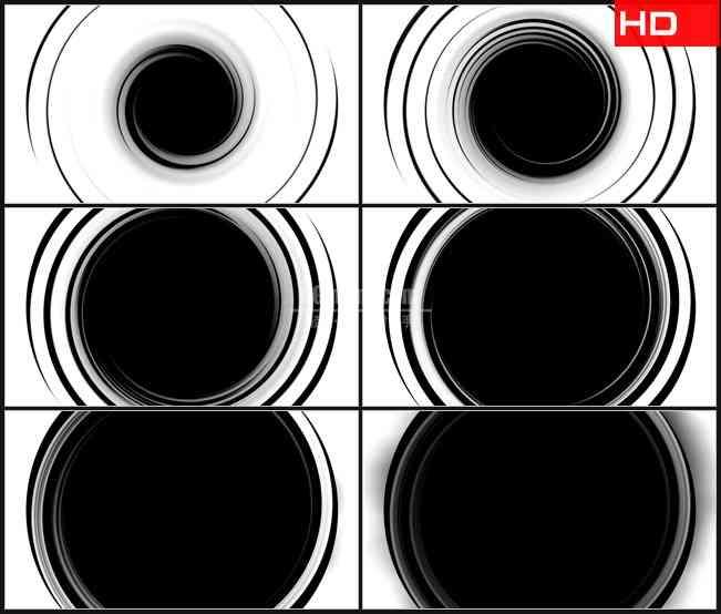BG0378-黑白漩涡圆环黑洞催眠高清LED视频背景素材