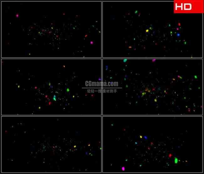 BG0380-彩色荧光亮片条翻滚飘落庆祝欢呼高清LED视频背景素材