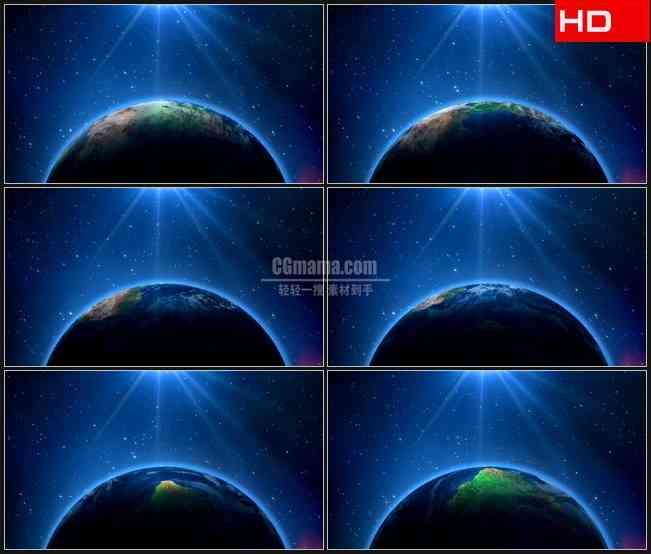 BG0385-地球旋转闪烁光线夜空高清LED视频背景素材