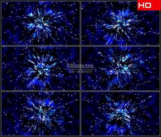 BG0389-蓝色背景白色星光离子绽放扩散动态背景高清LED视频背景素材
