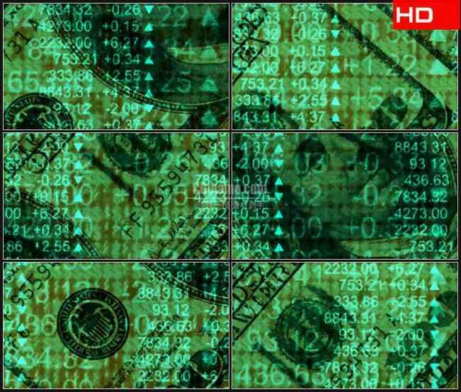 BG0390-金融经济美元符号旋转钱货比美元高清LED视频背景素材