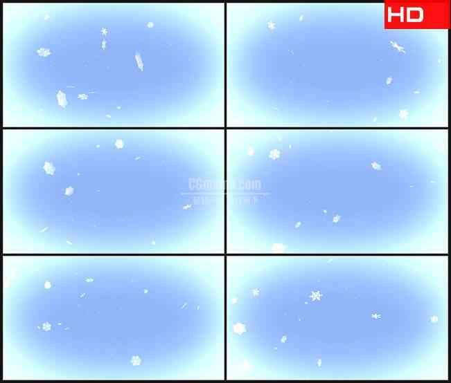 BG0394-冬天淡蓝背景雪花粒子下落高清LED视频背景素材