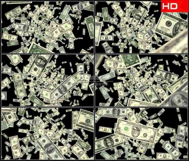 BG0398-透明通道美元钞票金融经济高清LED视频背景素材