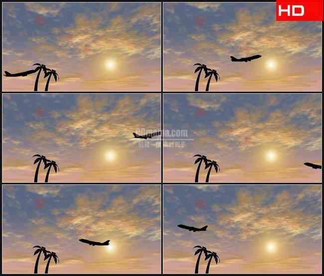 BG0405-椰树飞机起飞剪影蓝天高清LED视频背景素材