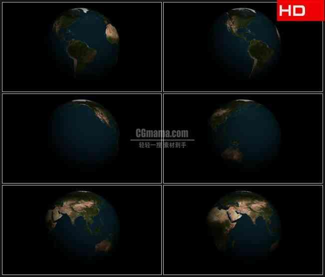 BG0440-夜晚太空地球旋转黑背景高清LED视频背景素材