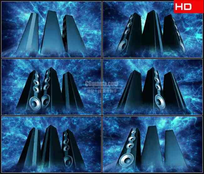 BG0443-三个组合音响蓝色电波音波音乐高清LED视频背景素材