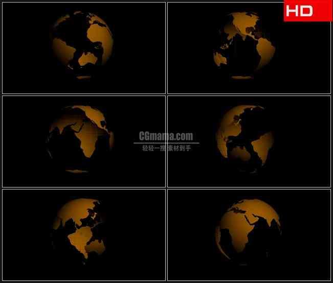 BG0457-金色地球旋转透明通道高清LED视频背景素材