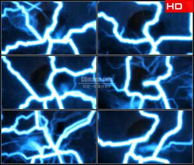 BG0459-疯狂蓝色激光闪电高清LED视频背景素材