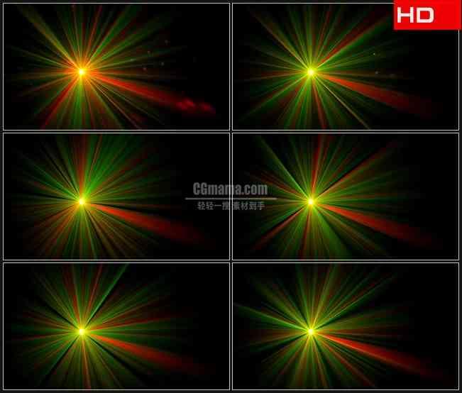 BG0461-绿色红色混合光芒光线高清LED视频背景素材