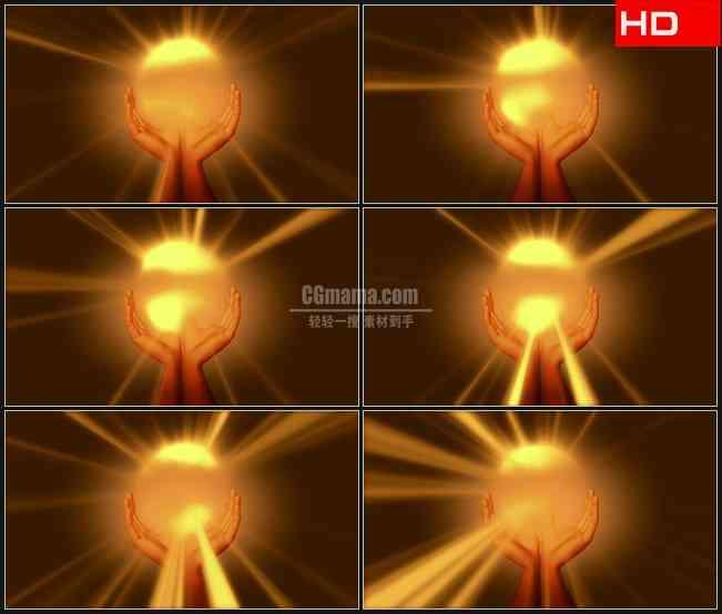 BG0464-双手托起金色光芒希望高清LED视频背景素材