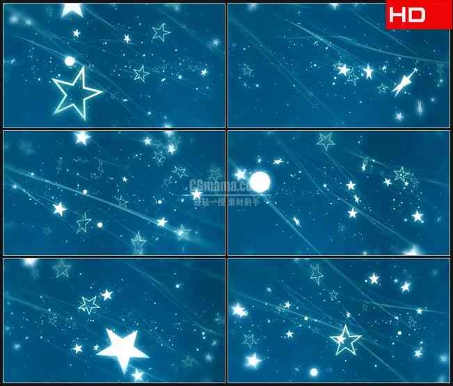 BG0468-蓝色星空星星翻滚飞出浪漫背景高清LED视频背景素材