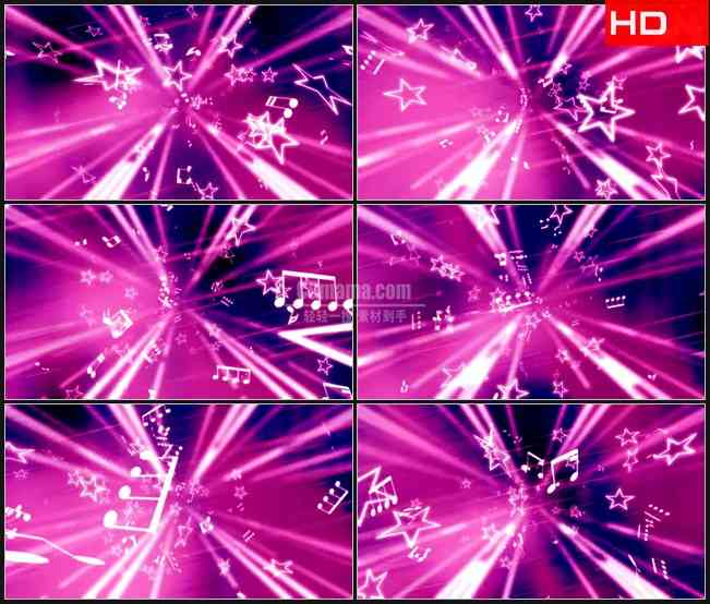 BG0471-音乐粉红飞光光芒星星摘要高清LED视频背景素材
