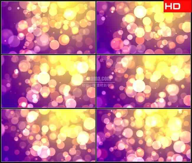 BG0472-黄色紫色圆形光晕粒子动态背景高清LED视频背景素材