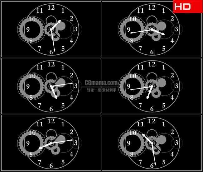 BG0474-时钟机械齿轮高清LED视频背景素材