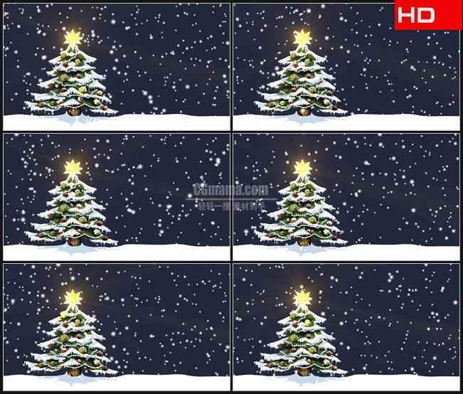 BG0477-圣诞树登天下雪圣诞节高清LED视频背景素材