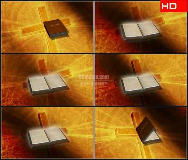 BG0482-圣经打开十字架黄色薄纱高清LED视频背景素材