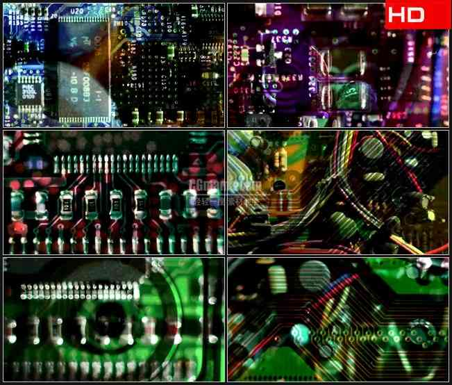 BG0484-计算机电路主板高清LED视频背景素材