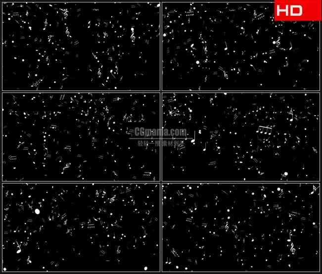BG0494-音乐三维银色音符落下滚动高清LED视频背景素材